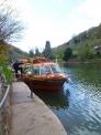 イギリスの川と観光船の写真素材
