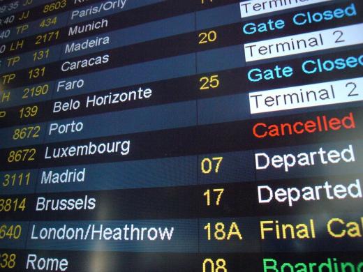 空港の電光掲示板の写真素材