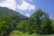 夏空と山の写真素材